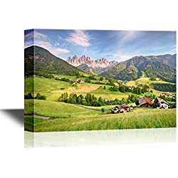 wall26 - Watercolor Style Canvas Wall Art - Dolomites Alps Mountain Val Di Funes - Gallery Wrap Modern Home Decor | Ready to Hang - 16x24 inches