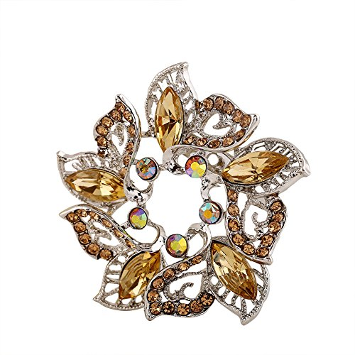 (Hosaire 1X Fashion Elegant Diamond Wreath Wedding Bridal Brooch Pin Rhinestone Covered Scarves Shawl Clip For women's Ladies Jewelry(Gold) )