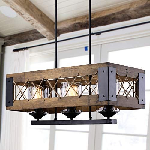 LALUZ Chandeliers 3 Wooden Kitchen Island Pendant Lighting in Rustic Wood and Painted Black Metal Finish with Hemp-Ropes & Clear Glass Shades, 3-Light Farmhouse Dining Room Lighting, 24