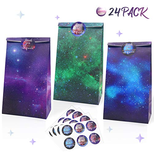 OUTER Space Party Paper Gift Bags 24 PACK Galaxy Themed Party Supplies PLANET Thank You Stickers,Science, Solar System Party Classroom TEACHER Rewards