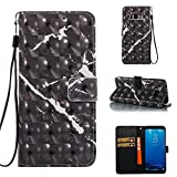 Cover Galaxy Note 8 Marble Book Black, Misteem Colorful Fantasy Marble Pattern Soft Leather Credit Card Holder Wallet Shockproof Case Protective Shell for Samsung Galaxy Note 8