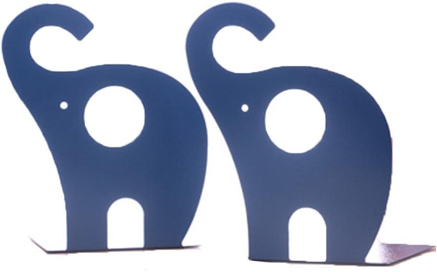 Super44day 2 Pezzi Elefante Animali Reggilibri Fermalibri Metallo Titolare Libro Mensola Biblioteca fermalibri per mensole Casa UffIcio Scuola Bookends Shelf Holder, Blu