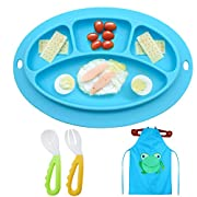 Kids Silicone Placemat Divided Plate for Toddler HighChair with Travel non slip baby feeding FDA Approved,Safety&health, no chemical flavor, rest assured that the use for Icanbee (Blue)
