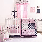 Nautical Whales and Anchors Pink 4 Piece Crib Bedding Set by The Peanut Shell