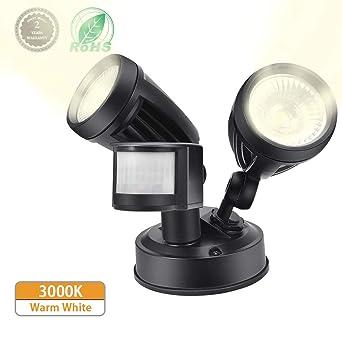 Lámparas de Seguridad,Comaie 2 bombillas LED de Sensor de Movimiento,30W Proyector LED