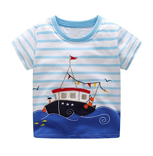 BEILEI CREATIONS Little Boys Summer Cotton Strip T Shirt,Summer Short Sleeve T-Shirt Clothes (3T, Blue Ship) by BEILEI CREATIONS