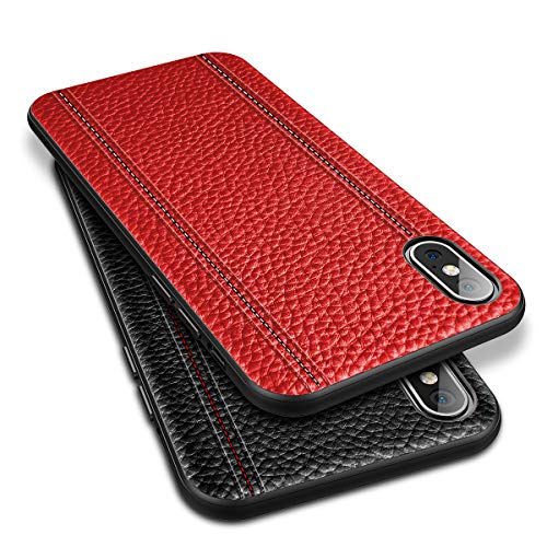 iPhone Xs Leather Case Cover - Thin Luxury Premium Genuine Leather No-PU Soft Flexible Bumper Non-Wallet Anti-Slip Scratch Protective Business iPhone 10 Cover Work with Wireless Charging