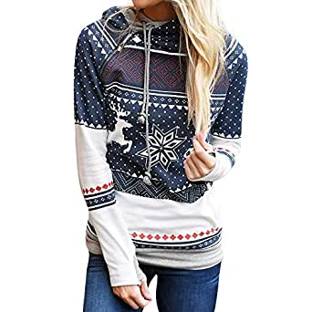 Xinantime Sudadera con Capucha Blusa Camiseta Navidad Mujer ...