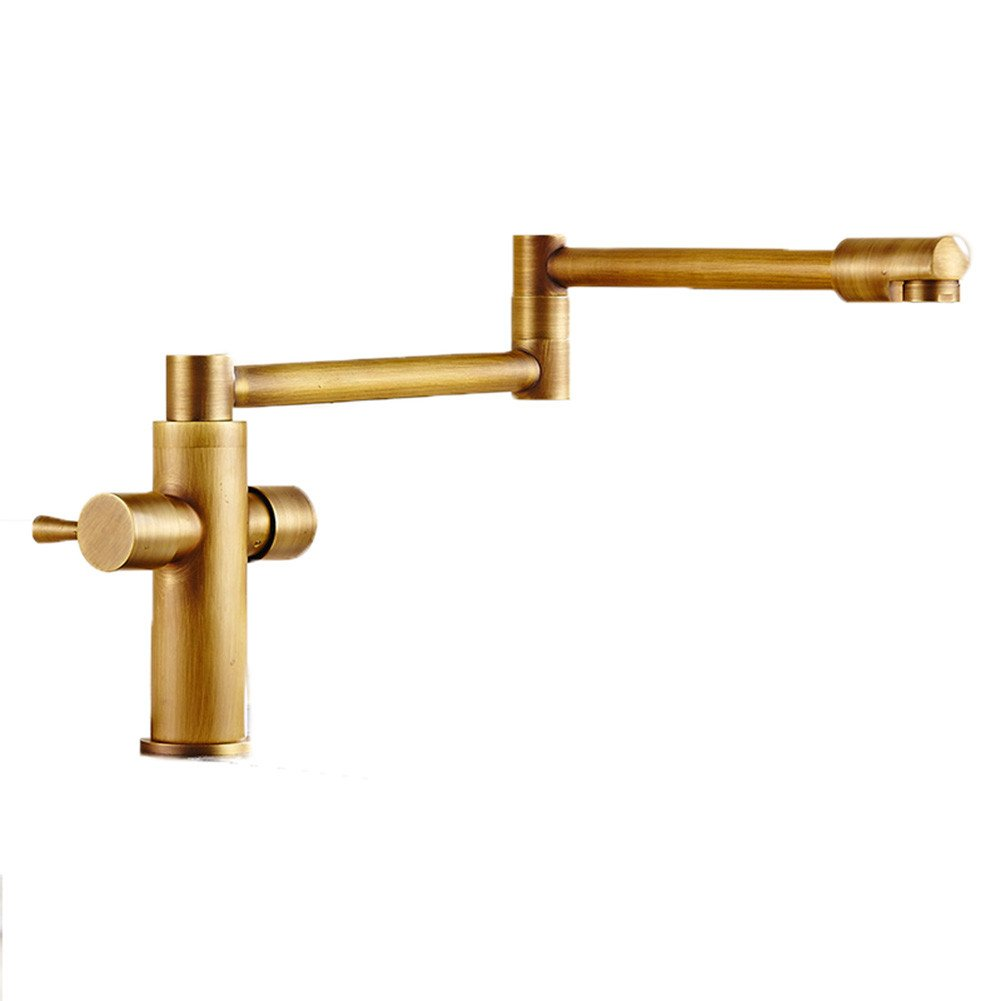 Good quality Water faucet basin mixer gold redary tank washing dishes in a bathtub faucet Foldable full brass body sink hot and cold water faucets