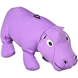 SmartPetLove Tender-Tuffs Big Shots - Tough Plush Dog Toys for Large Breeds - Plump Purple Hippo