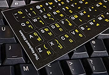 iMac Computer Keyboards Labels on Black Background, Yellow//White Letters Laptop Thai Keyboard Sticker for PC