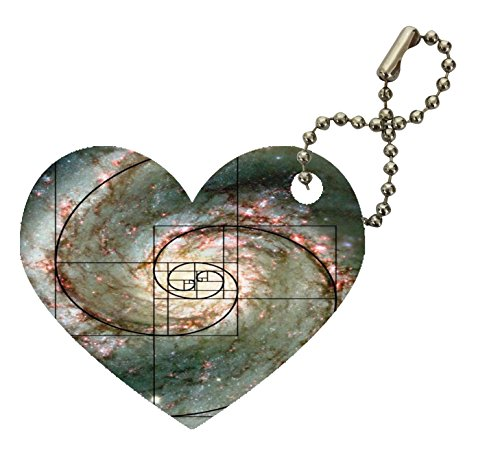 Cosmic Space Galaxy Cyclone Stars Madala Art Printed Design Heart Keychain by Smarter Designs