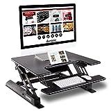 Duronic Sit-Stand Desk DM05D19 | Height Adjustable Office Workstation | 56x69cm Platform | Raises from 20-42cm | Riser for PC Computer Screen, Keyboard, Laptop | Ergonomic Desktop Table Converter