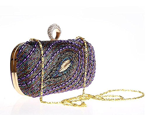Clutch Envelope Classic Evening Purse Women Clutch Bag Handbag GSHGA Bag Purple Pleated Shoulder gq5XUx
