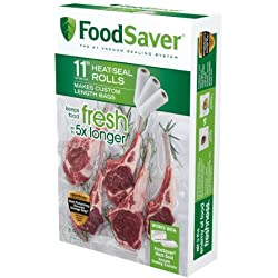 "FoodSaver 11"" x 16' Vacuum Seal Roll with BPA-Free Multilayer Construction for Food Preservation, 3-Pack"