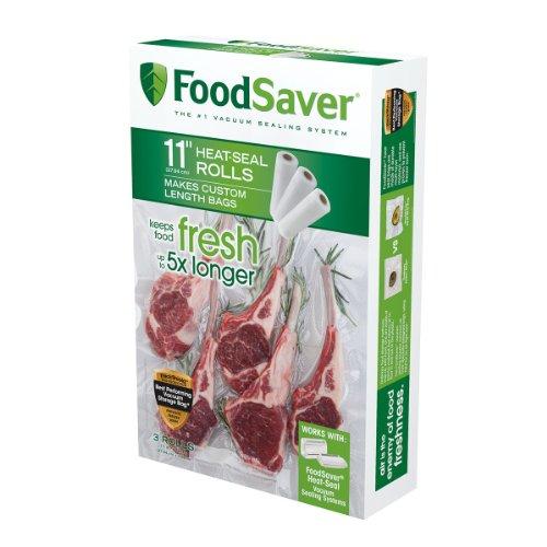 """FoodSaver Rollo de sellado al vacío de 11 """"x 16 'con construcción multicapa sin BPA para conservación de alimentos, paquete de 3"""
