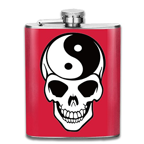 Yin Yang Skull Stainless Steel Pocket Flagon Shot Flask Hip Flask Wine Pot (7oz)