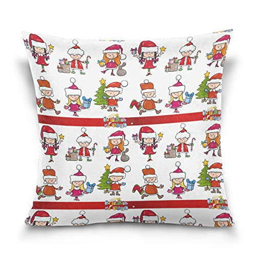 Jacksonnd Blithed Happy Little Kids at Christmas Cotton Velvet Printed Pillowcase Decorative Sofa Hug Pillowcase Square Pillowcase