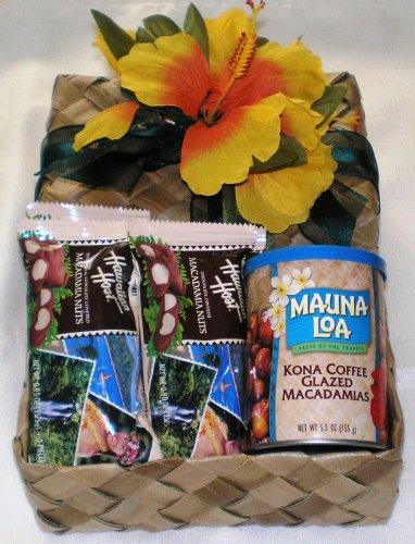 Hawaiian Mauna Loa Kona Coffee Glazed Macadamia Nuts & Host Chocolate Covered Macadamia Nuts Gift Basket (Hawaiian Gift Basket)