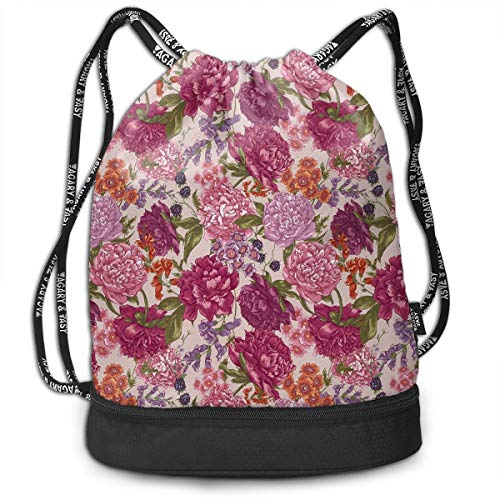 Drawstring Backpacks Bags,Peonies BlackBerry And Wild Flowers In Vintage Style Colorful Nature ()