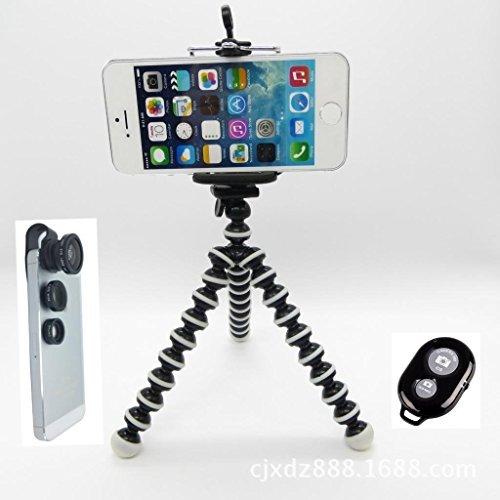 CiDoss Black Universal Clip-on 180 Degree Fish Eye Lens+Wide Angle Lens+Macro Lens 3-in-1 Kit+Self Portrait Self Shot Monopod Selfie Stick With Phone