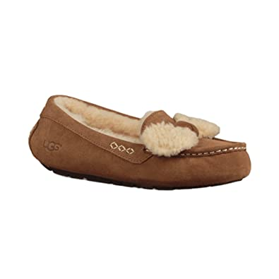 UGG Women's Ansley Fur Bow Slipper Chestnut Size 5 B(M) US