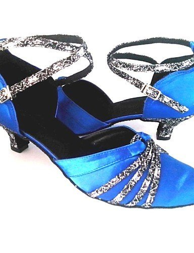 ShangYi Customized Women's Ballroom Shoes Customized Heel Satin Upper Dance Shoes Royal Blue EO037n