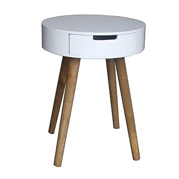 Bhp Table D Appoint Tiroir Et Pieds Bois Blanc Mdf Table De