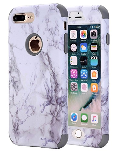 iPhone 7 Plus Case, iPhone 8 Plus Case, KAMII White Marble Stone Pattern Shockproof 2in1 Dual Layer TPU Bumper Hard PC Hybrid Defender Armor Case Cover for Apple iPhone 7 Plus /8 Plus (Grey)