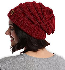 Slouchy Cable Knit Cuff Beanie by Tough Headwear - Chunky, Oversized Slouch Beanie Hats for Men & Women - Stay Warm & Stylish - Serious Beanies for Serious Style