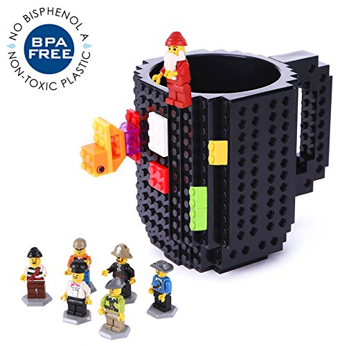 Build-On Brick Mug Lego Type Creative DIY Building Blocks Coffee Cup Water Bottle Puzzle Toy Mug 12oz 350 ml Desk Ornament Christmas Gift (Christmas Ornament Cup)
