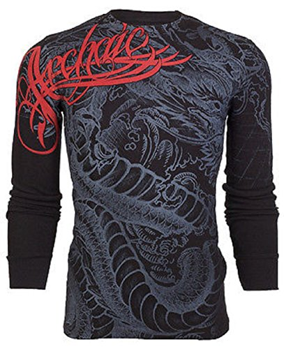 Archaic AFFLICTION Mens THERMAL T-Shirt DRAGON RAGE Tattoo Biker UFC – DiZiSports Store