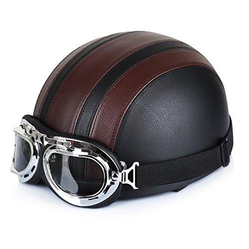 ZHM Motorradhelm Roller Halbhelm Kampfhelm Skateboard Helm Klettern Kletterhelm Scooter Helme für Außen Sport Ausrüstung Schutzhelm mit Schutzbrille Retro Vintage Style, 54-60cm