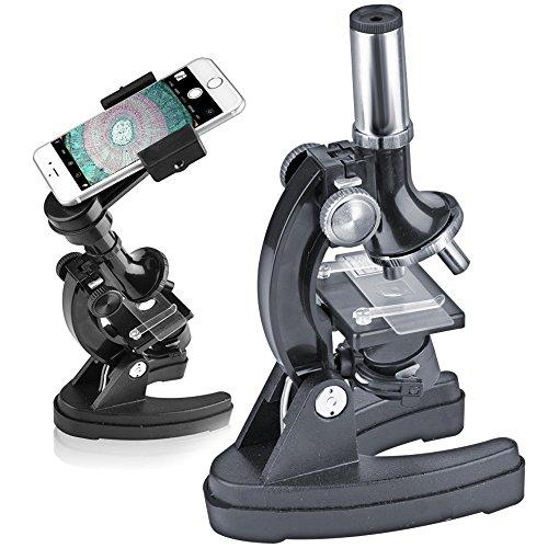 SOLOMARK Kids Student Beginner Microscope With LED-100X/600X/900X Magnification-Includes Phone Adapter,Accessory Set and Box-blue