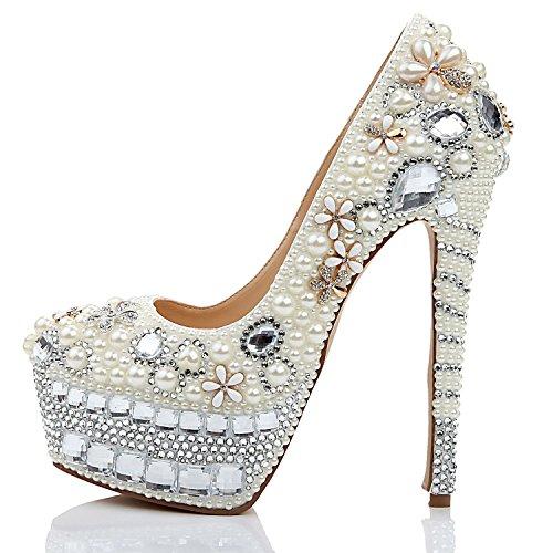 Boda Boca Altos de Profunda Gama Poco Mujeres Fino a de White de Plataforma Banquete Moda Medida Lujo Tacón Impermeable de Zapatos Alta para Tacones Moda wtqATt
