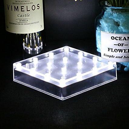 Ardux - Base de luz cuadrada para jarrón con 16 ledes, 5 pulgadas, carga USB o funciona con pilas, para decoración de casa, planta, jardín o fiesta, plástico, Blanco, pack de 1