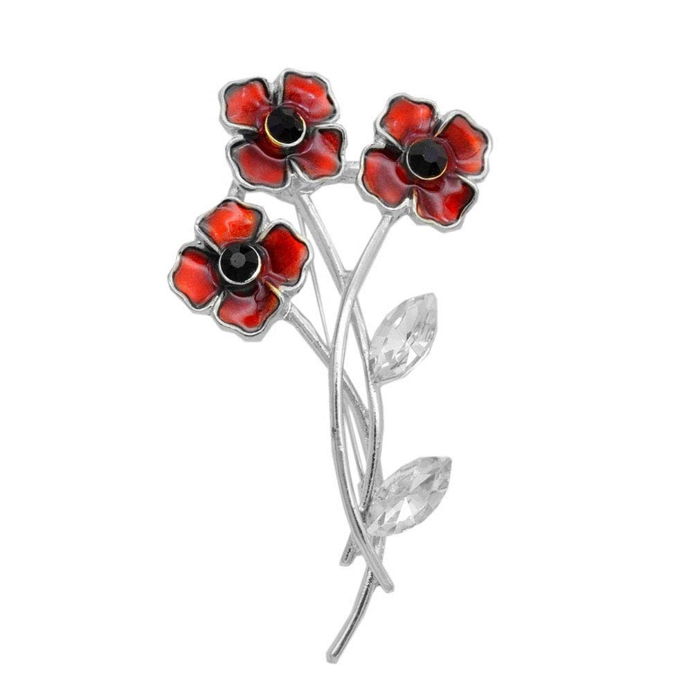 Poppy Brooches Lapel Pin Rhinestone Crystal Red Poppy Posy Stem Brooch Badge Banquet Remembrance Day Gift Bling Stars BH-01-0002-65