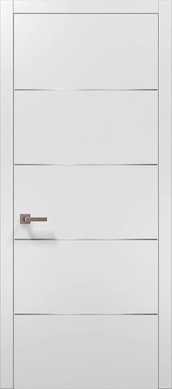 Modern White Modern Door 28x80 with Strips | Planum 0020 Matte White | Frame Trims Lever Satin Nickel Hardware | Closet Solid Core Door