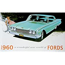 CLASSIC, FULLY ILLUSTRATED 1960 FORD PASSENGER CAR DEALERSHIP SALES BROCHURE - ADVERTISMENT Includes Custom Series, Custom 300 & Fairlaine Series, Fairlane 500, Galaxie, Falcon, Thunderbird - Wagons, Convertible
