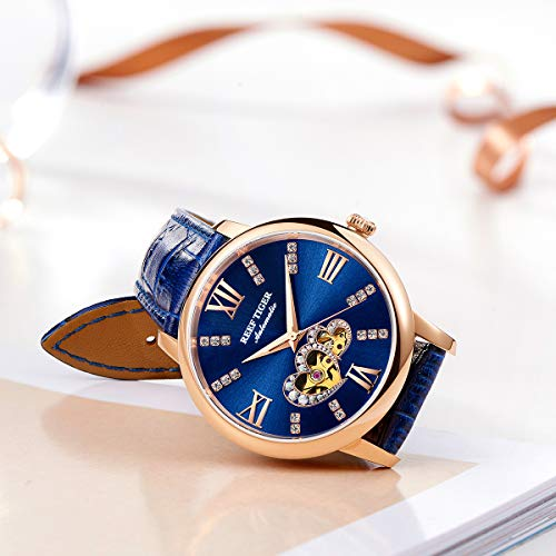 Reef Tiger Luxury Brand Ladies Watch Waterproof Leather Band Automatic Women Diamond Watches RGA1580