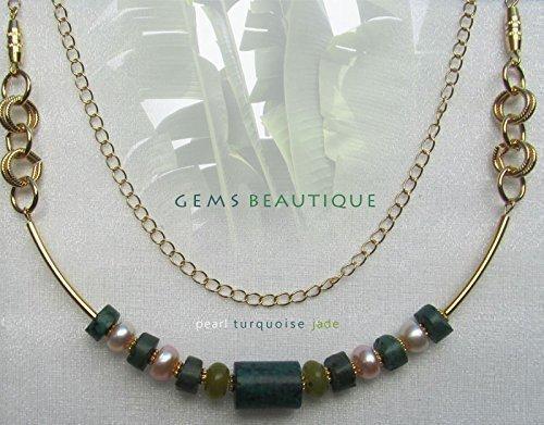 (GemsBeautique Gold Beaded Choker Necklace. Turquoise, jade & lustrous pink freshwater pearls. Genuine Gemstone. Elegant GIFT.)