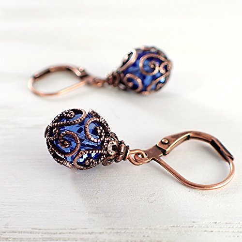- Bright Blue Caged Crystal Earrings made with Swarovski Crystals and Antiqued Metal