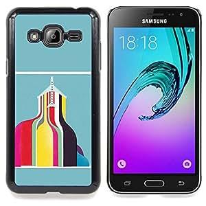 - Abstract Building Teal Yellow Pink/ Duro Snap en el tel????fono celular de la cubierta - Cao - For Samsung Galaxy J3