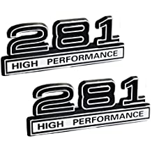 "281 4.6 Liter High Performance Engine Emblems in Chrome & Black Trim - 4"" Long Pair"