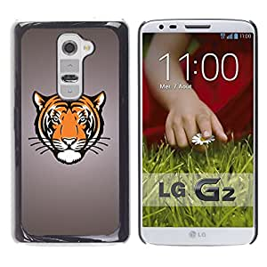 Qstar Arte & diseño plástico duro Fundas Cover Cubre Hard Case Cover para LG G2 / D800 / D802 / D802TA / D803 / VS980 / LS980 ( Tiger Portrait Drawing Face Animal Big Cat Wild)
