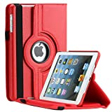 Apple iPad Mini Case / iPad Mini 2 case / iPad mini 3 Case - Thilon, 360 Degree Rotating Stand PU Leather Case Cover with Stand, Auto Sleep / Wake for iPad mini 1, 2, 3 case (Red)