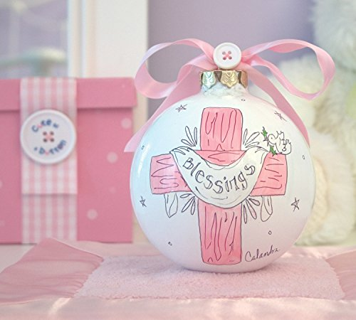 Cute as a Button Blessings Cross Girl Pink Hand Painted Glass Ornament Decoration Cross Christmas Ornament