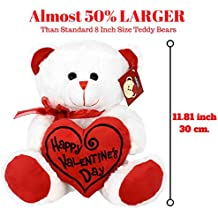 """KINREX Valentines Day Teddy Bear - 11.81"""" / 30 cm. - Teddy Bear Gifts for Girlfriend, Boyfriend, Wife, Husband - Color White with Red Heart Pillow - Happy Valentine's Day Embroidery"""
