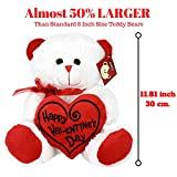 "Toys : KINREX Valentines Day Teddy Bear - 11.81"" / 30 cm. - Teddy Bear Gifts for Girlfriend, Boyfriend, Wife, Husband - Color White with Red Heart Pillow - Happy Valentine's Day Embroidery"