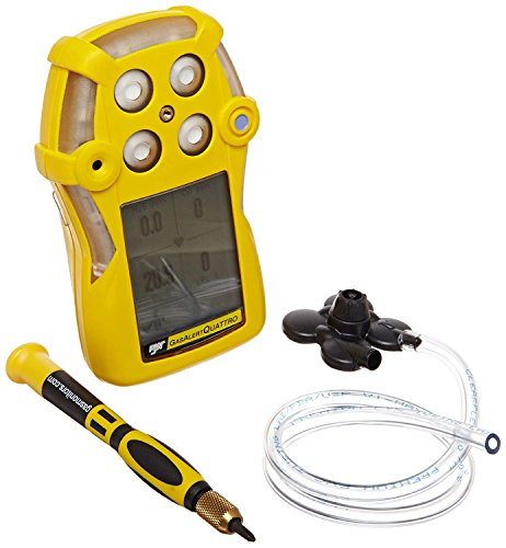 (BW Technologies QT-XWHM-A-Y-NA GasAlertQuattro 4-Gas Detector with Alkaline Battery, Combustible, O2, H2S and CO, Yellow)
